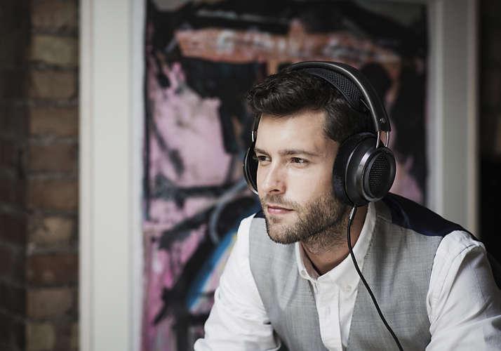 Man wearing over-ear headphones