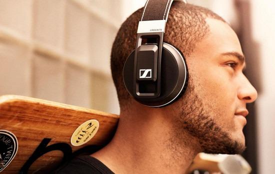 Young man wearing bluetooth headphones