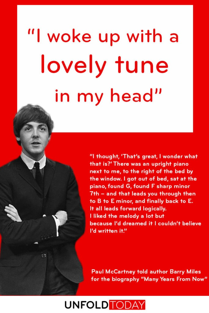 Paul McCartney quote about the power of remembering dreams and the idea behind Yesterday