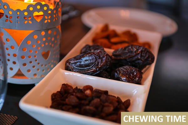 Nuts and dried fruits for a yogi to chew during their morning routine.