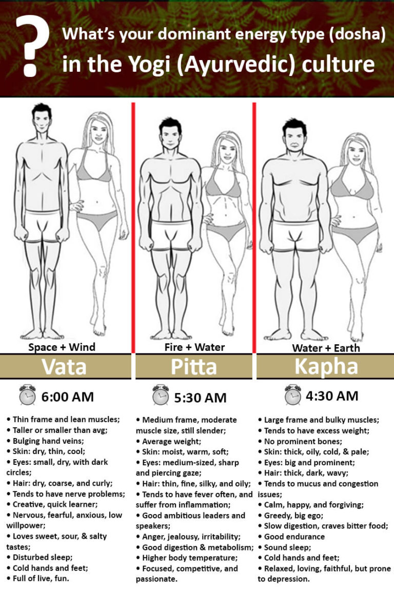 Yogi Body Types (dosha) in Ayurvedic culture: vata, pitta, kapha.