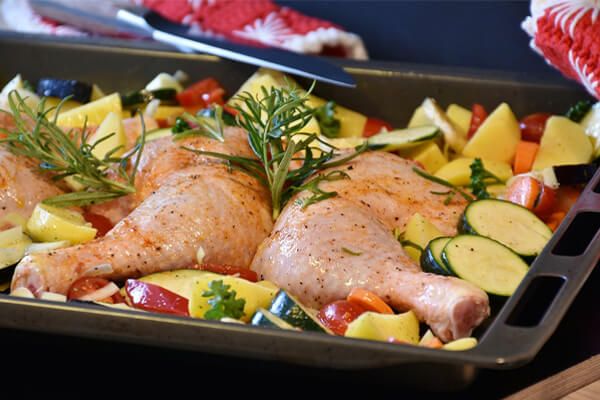 Easy to digest foods: Chicken meat ready for oven