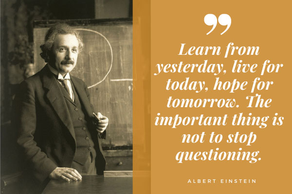 High IQ Albert Einstein and his quote about one of the most important things in life.
