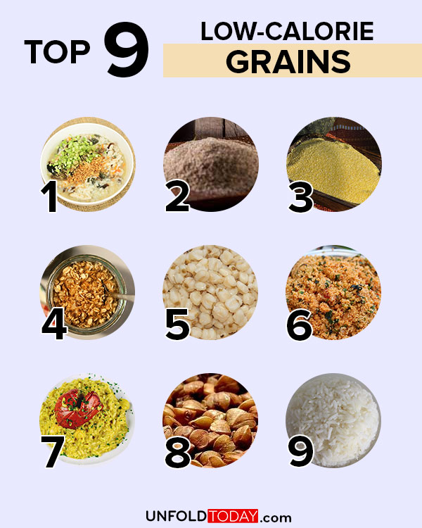 Top nine grains with the lowest number of calories for easy weight loss